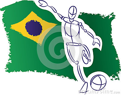 Brazil flag and soccer player