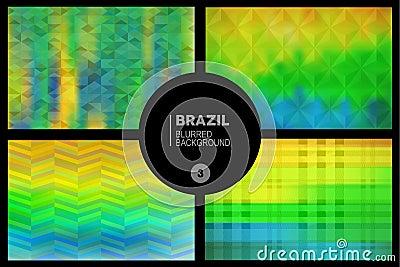 Brazil Geometric Blurred Backgrounds Set Stock Vector - Image: 43317460