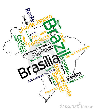 Free Brazil Map And Cities Stock Images - 15975394