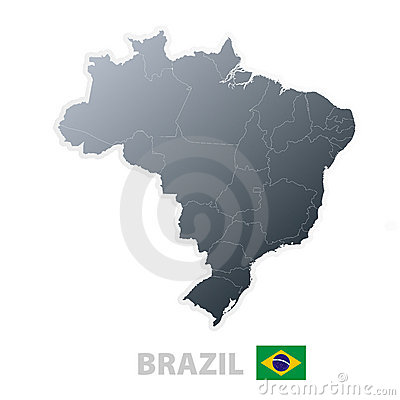 Brazil map with official flag