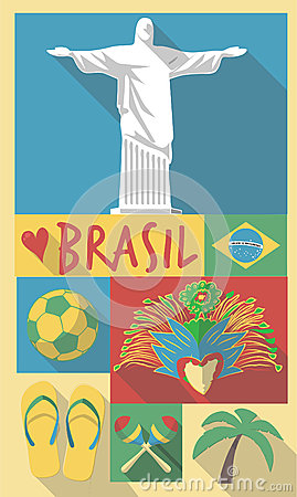 Brazil symbols on a poster or postcard