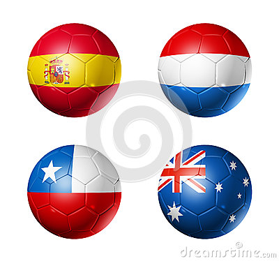 Free Brazil World Cup 2014 Group B Flags On Soccer Ball Stock Images - 35807934