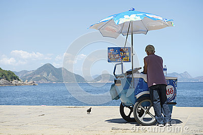 Brazilian Beach Vendor Selling Ice Cream Ipanema Rio Editorial Photo