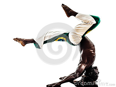 Brazilian  black man dancer dancing capoiera