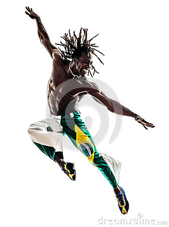 Brazilian  black man dancer dancing jumping