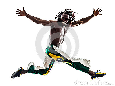 Brazilian  black man running jumping