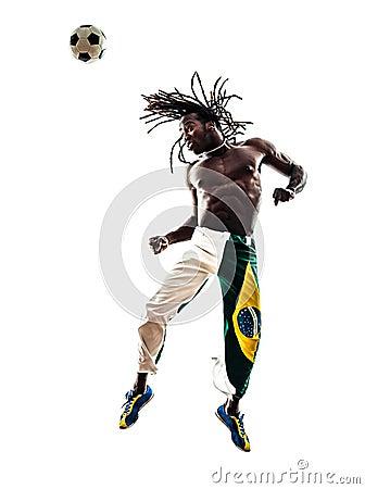 Brazilian  black man soccer player heading football silhouette