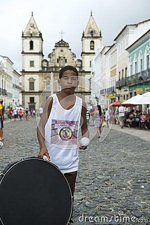 Brazilian Boy Standing Drumming Pelourinho Salvador Editorial Photo