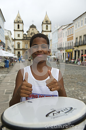 Brazilian Boy Standing Drumming Pelourinho Salvador Editorial Stock Image