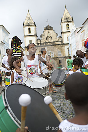 Brazilian Children Drumming Pelourinho Salvador Bahia Editorial Stock Image