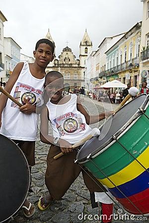 Brazilian Children Drumming Pelourinho Salvador Bahia Editorial Stock Image