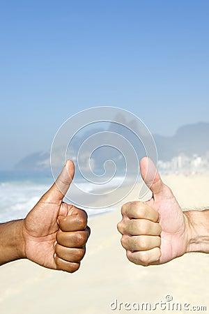 Brazilian Diversity Thumbs Up Cariocas Ipanema Beach Rio