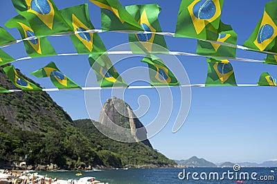 Brazilian Flag Bunting Red Beach Sugarloaf Rio Brazil