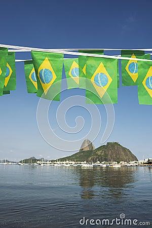 Brazilian Flags Sugarloaf Mountain Rio de Janeiro Brazil