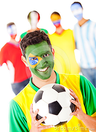 Brazilian football fan with a group