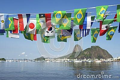 Brazilian International Flags Sugarloaf Mountain Rio de Janeiro Brazil