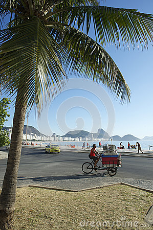 Brazilian Man Delivering Beach Chairs Copacabana Editorial Stock Image