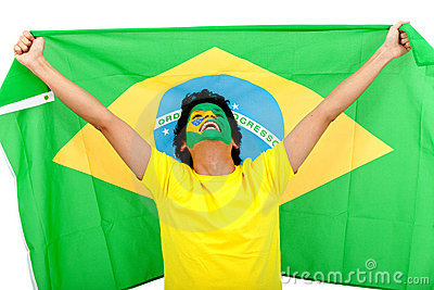 Brazilian man with the flag