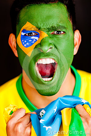 Brazilian man shouting