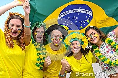 Brazilian soccer fans commemorating.