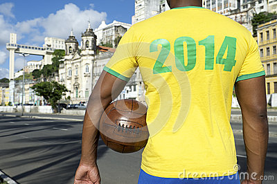 Brazilian Soccer Football Player Wearing 2014 Shirt Salvador