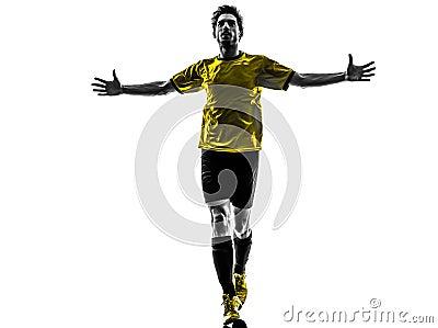 Brazilian soccer football player young happiness joy man silhoue