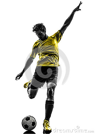 Free Brazilian Soccer Football Player Young Man Kicking Silhouette Stock Photography - 31788312