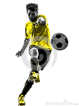 Free Brazilian Soccer Football Player Young Man Kicking Silhouette Stock Photography - 33879062