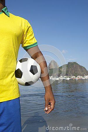 Brazilian Soccer Player Holding Football Sugarloaf Rio