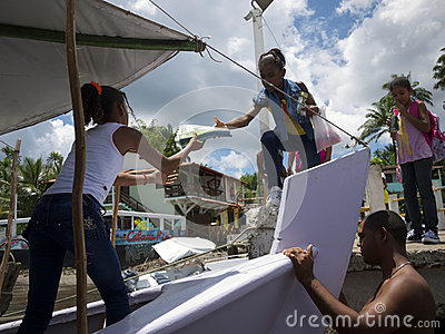 Brazilian Students Boarding Ferry Boat Nordeste Editorial Photography