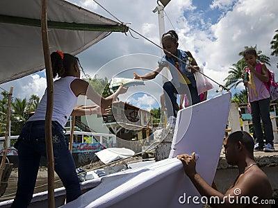 Brazilian Students Boarding Ferry Boat Nordeste Editorial Photography