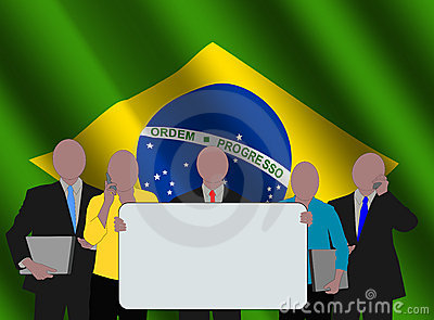 Brazilian team with flag