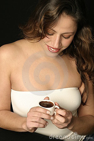 Brazilian woman with cup of chocolate