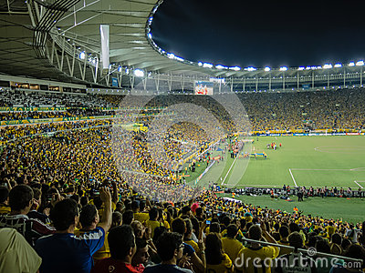 Brazilians football fans in new Maracana Stadium Editorial Image