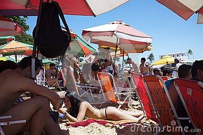 Brazilians Porto da Barra Beach Salvador Bahia Brazil Editorial Photo