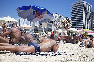 Brazilians Sunbathing Ipanema Beach Rio de Janeiro Editorial Photography