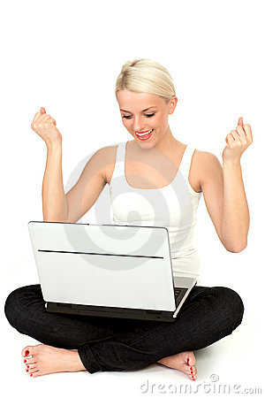 Bärbar datorkvinna