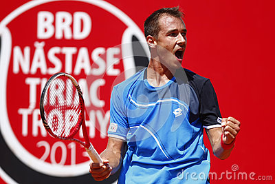 BRD Open 2013 Singles Semi-Final:Lukasz Rosol-Gilles Simon Editorial Photo
