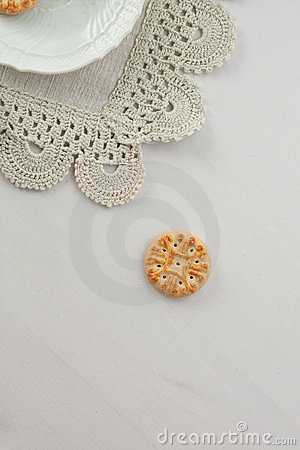 breackfast cookie on a white table cloth
