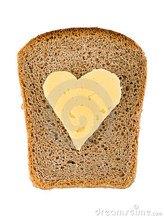Free Bread And Heart Shaped Cheese Stock Photography - 11041402