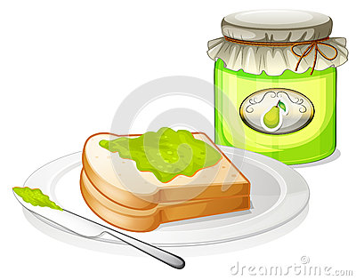 A bread with avocado jam