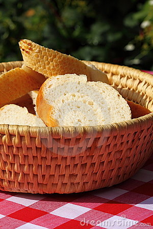 Bread in basket outdoors