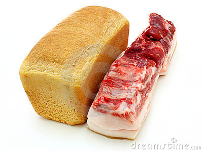 Bread and the big piece of meat