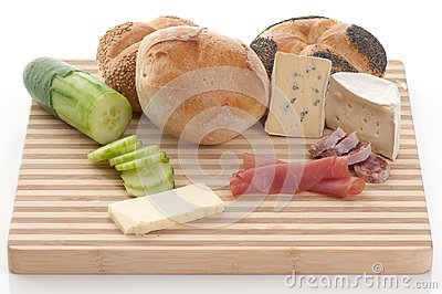 Bread, blue cheese and ham