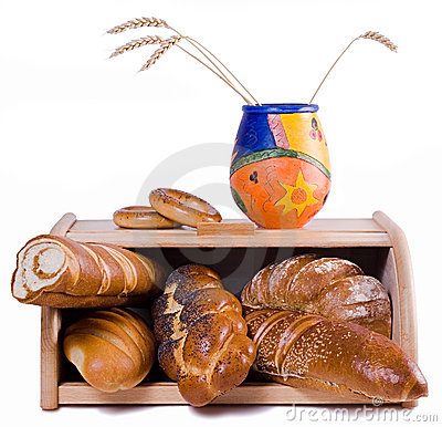 Bread and bread-basket, isolat