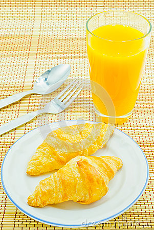 Bread of breakfast on white background