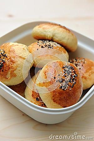 Bread bun in container
