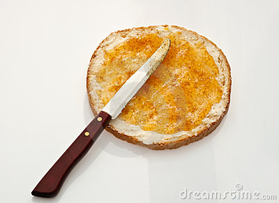 Bread With Butter And Jam Stock Photo - Image: 12891980