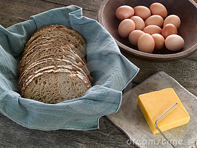 Bread, cheese and eggs