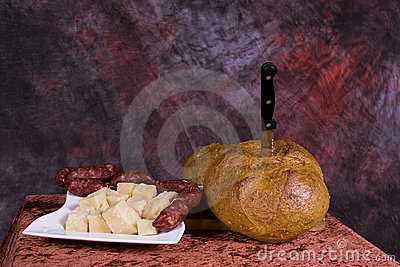 Bread and cheese platter
